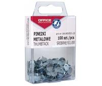 Drawing pins (thumb tacks), OFFICE PRODUCTS, in a box, 100 pcs, silver