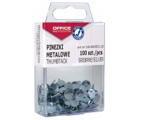 Pinezki metalowe OFFICE PRODUCTS, w pudełku, 100szt., srebrne, Pinezki, Drobne akcesoria biurowe