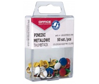 Coloured drawing pins (thumb tacks), OFFICE PRODUCTS, in a box, 50 pcs, assorted colours