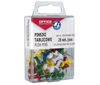 Coloured drawing pins (thumb tacks), barrels, OFFICE PRODUCTS, in a box, 25 pcs, assorted colours