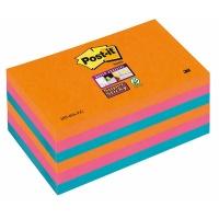 Bloczek samoprzylepny POST-IT® Super Sticky (655-6SS-EG), 127x76xmm, 6x90 kart., promienne kolory