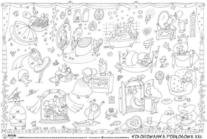 Kolorowanka podłogowa XXL MONUMI, 120x80cm, królewny, Produkty kreatywne, Szkoła 2015