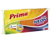 Gąbka do zmywania PRIMA Neon, profilowana, do trudnych zabrudzeń, 3szt., mix kolorów, Akcesoria do sprzątania, Artykuły higieniczne i dozowniki
