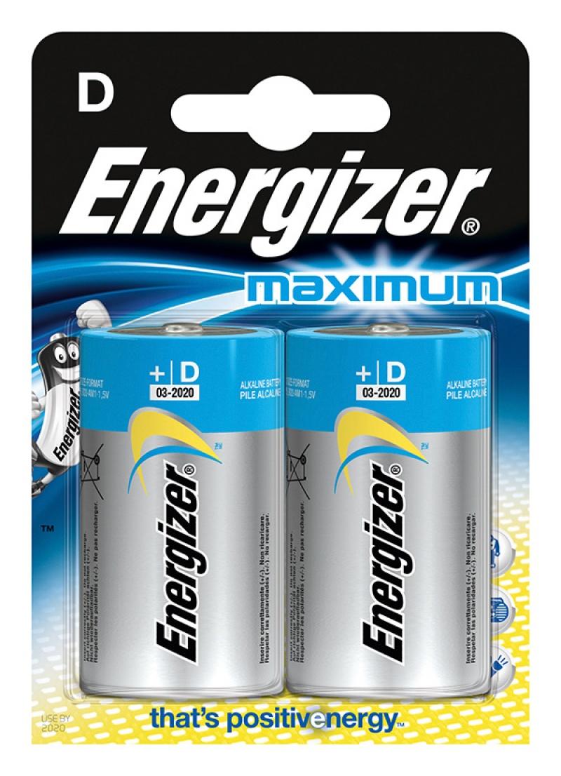 Bateria ENERGIZER Maximum, D, LR20, 1,5V, 2szt.