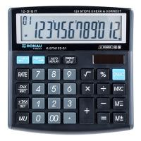 Kalkulator biurowy DONAU TECH, 12-cyfr. wyświetlacz, wym. 136x134x28 mm, czarny, Kalkulatory, Urządzenia i maszyny biurowe