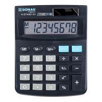 Kalkulator biurowy DONAU TECH, 8-cyfr. wyświetlacz, wym. 134x104x17 mm, czarny, Kalkulatory, Urządzenia i maszyny biurowe