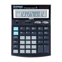 Kalkulator biurowy DONAU TECH, 12-cyfr. wyświetlacz, wym. 186x142x30 mm, czarny, Kalkulatory, Urządzenia i maszyny biurowe