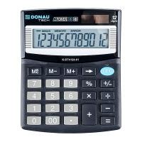 Kalkulator biurowy DONAU TECH, 12-cyfr. wyświetlacz, wym. 125x100x27 mm, czarny, Kalkulatory, Urządzenia i maszyny biurowe