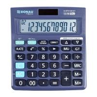 Kalkulator biurowy DONAU TECH, 12-cyfr. wyświetlacz, wym. 140x122x22 mm, czarny, Kalkulatory, Urządzenia i maszyny biurowe