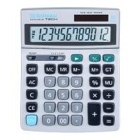 Kalkulator biurowy DONAU TECH, 12-cyfr. wyświetlacz, wym. 210x154x34 mm, metalowa obudowa, srebrny, Kalkulatory, Urządzenia i maszyny biurowe