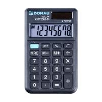 Kalkulator kieszonkowy DONAU TECH, 8-cyfr. wyświetlacz, wym. 97x60x11 mm, czarny, Kalkulatory, Urządzenia i maszyny biurowe