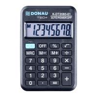 Kalkulator kieszonkowy DONAU TECH, 8-cyfr. wyświetlacz, wym. 89x59x11 mm, czarny, Kalkulatory, Urządzenia i maszyny biurowe