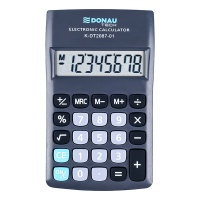 Kalkulator kieszonkowy DONAU TECH, 8-cyfr. wyświetlacz, wym. 180x90x19 mm, czarny, Kalkulatory, Urządzenia i maszyny biurowe