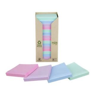 Karteczki samoprzylepne ekologiczne POST-IT® (654-1RPT), 76x76mm, 16x100 kart., pastelowe, Bloczki samoprzylepne, Papier i etykiety