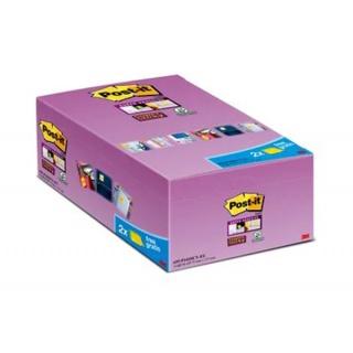Bloczki samoprzylepne Post-it® Super Sticky (655-P16SSCY-EU), 127x76mm, 16x90 kart., żółte, 2 bloczki GRATIS, Bloczki samoprzylepne, Papier i etykiety