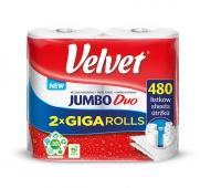 Ręcznik papierowy VELVET Jumbo Duo, 2-warstwowy, 2 rolki po 240 listków, biały, Ręczniki papierowe i dozowniki, Artykuły higieniczne i dozowniki