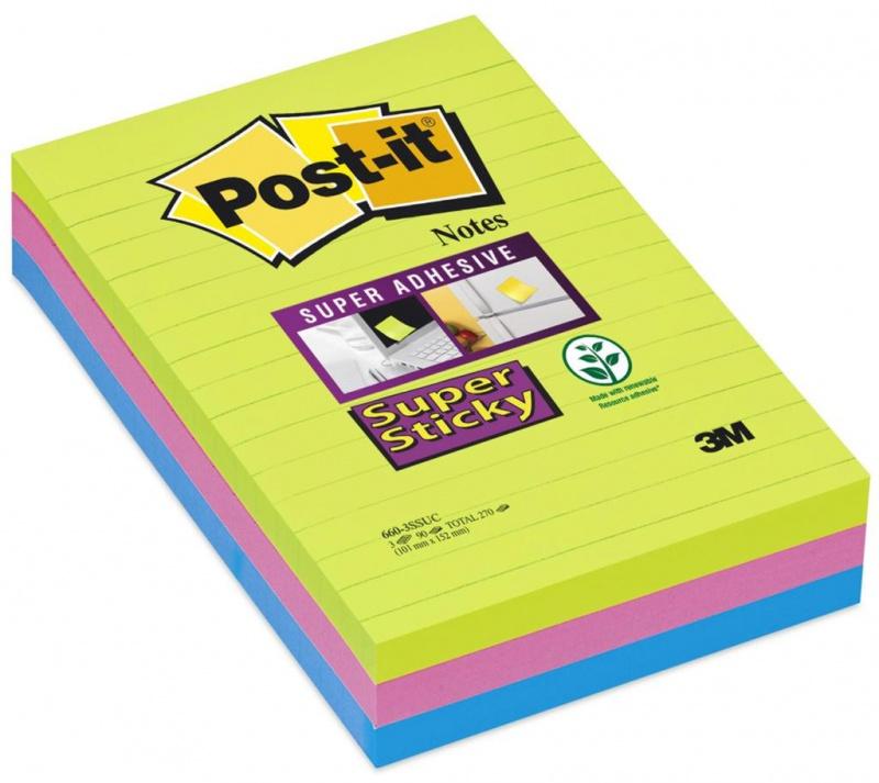 karteczki, bloczek, notes, karteczki samoprzylepne, post it, bloczek samoprzylepny, post-it, kartki samoprzylepne, karteczki samoprzylepny, bloczki, karteczki post-it, postit, BLOCZEK, super sticky, 660-3SSUC, XXL, duże karteczki, w linię