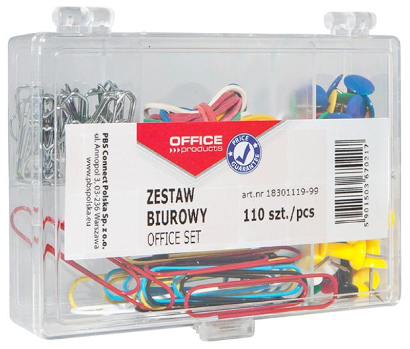 Zestaw biurowy (pinezki, gumki i spinacze) OFFICE PRODUCTS, mix 110szt., Zestawy, Drobne akcesoria biurowe