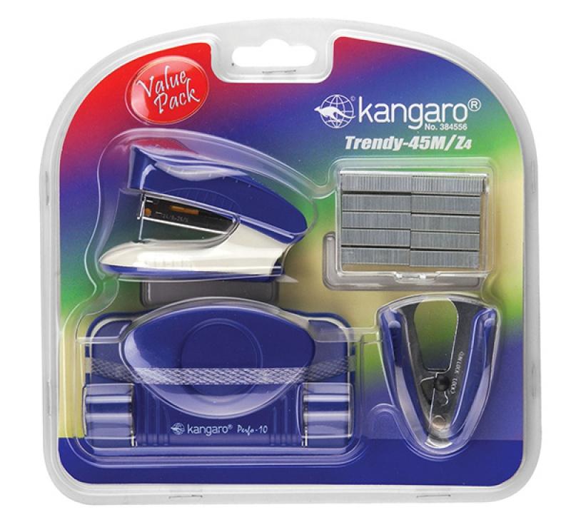 Zestaw KANGARO Trendy-45M/Z4, 4w1, blister, niebieski, Zestawy, Drobne akcesoria biurowe