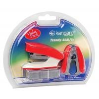 Zszywacz KANGARO Trendy-45M/Z3 + zszywki i rozszywacz, zszywa do 15 kartek, blister, czerwony, Zszywacze, Drobne akcesoria biurowe