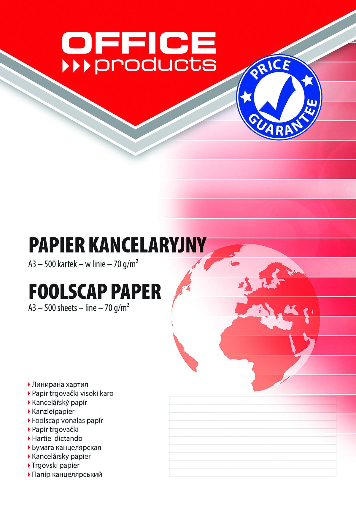 Papier kancelaryjny OFFICE PRODUCTS, w linie, A3, 500ark. - PBS ...
