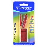 Zszywacz KANGARO Mini-10/Y2 C-THRU+zszywki, zszywa do 10 kartek, blister, czerwony, Zszywacze, Drobne akcesoria biurowe