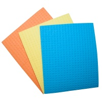 Ścierka gąbczasta OFFICE PRODUCTS, celuloza, 18x16cm, 3szt., mix kolorów, Akcesoria do sprzątania, Artykuły higieniczne i dozowniki