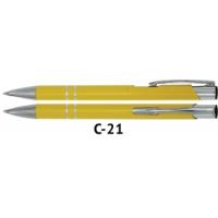 Długopis automatyczny COSMO z grawerem żółty, Długopisy, Artykuły do pisania i korygowania