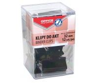 Klipy do dokumentów OFFICE PRODUCTS, 32mm, 12szt., w pudełku, czarne, Klipy, Drobne akcesoria biurowe