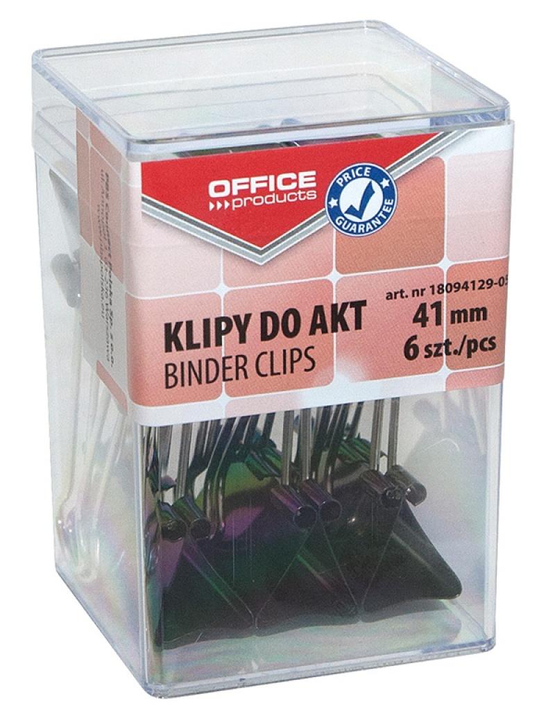 Klipy do dokumentów OFFICE PRODUCTS, 41mm, 6szt., w pudełku, czarne, Klipy, Drobne akcesoria biurowe