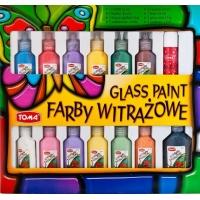Farby witrażowe, TOMA, TO-755, Glassdeco, 12 szt., mix kolorów, Plastyka, Artykuły szkolne