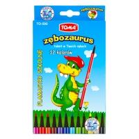 Flamastry Zębozaurus, TOMA, TO-590, 12 szt., mix kolor, Plastyka, Artykuły szkolne