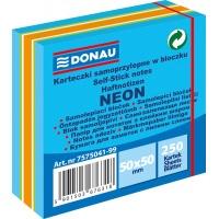 Mini kostka samoprzylepna DONAU, 50x50mm, 1x250 kart., neon-pastel, mix niebieski, Bloczki samoprzylepne, Papier i etykiety