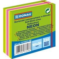 Mini kostka samoprzylepna DONAU, 50x50mm, 1x250 kart., neon-pastel, mix zielony, Bloczki samoprzylepne, Papier i etykiety