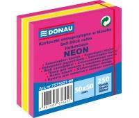 Mini kostka samoprzylepna DONAU, 50x50mm, 1x250 kart., neon-pastel, mix różowy, Bloczki samoprzylepne, Papier i etykiety