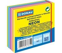Mini kostka samoprzylepna DONAU, 50x50mm, 1x250 kart., 11-warstw, neon-pastel, mix kolorów, Bloczki samoprzylepne, Papier i etykiety