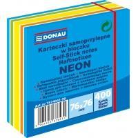 Kostka samoprzylepna DONAU, 76x76mm, 1x400 kart., neon-pastel, mix niebieski, Bloczki samoprzylepne, Papier i etykiety