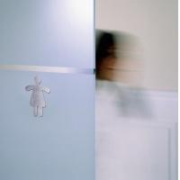Tabliczka 90x120 mm symbol: WC dla pań, Tablice, Prezentacja