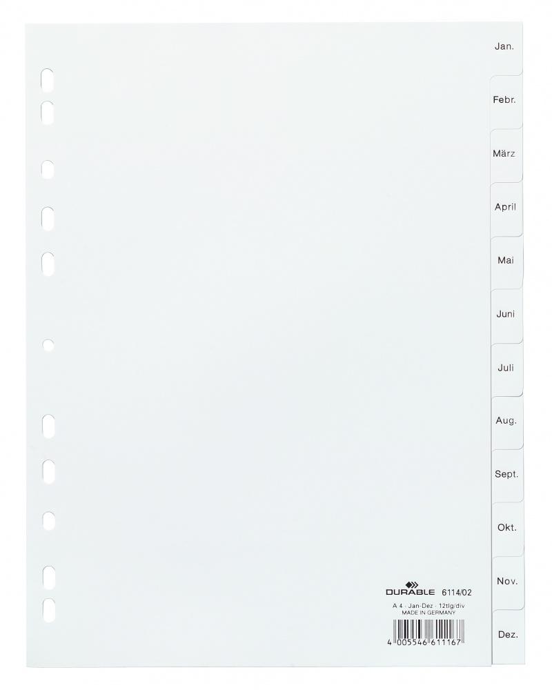 Przekładki PP A4 białe, nadrukowane indeksy, Jan-Dez, Przekładki polipropylenowe, Archiwizacja dokumentów