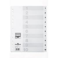 Przekładki PP A4 białe, nadrukowane indeksy, 1-10, przednia strona, Przekładki polipropylenowe, Archiwizacja dokumentów