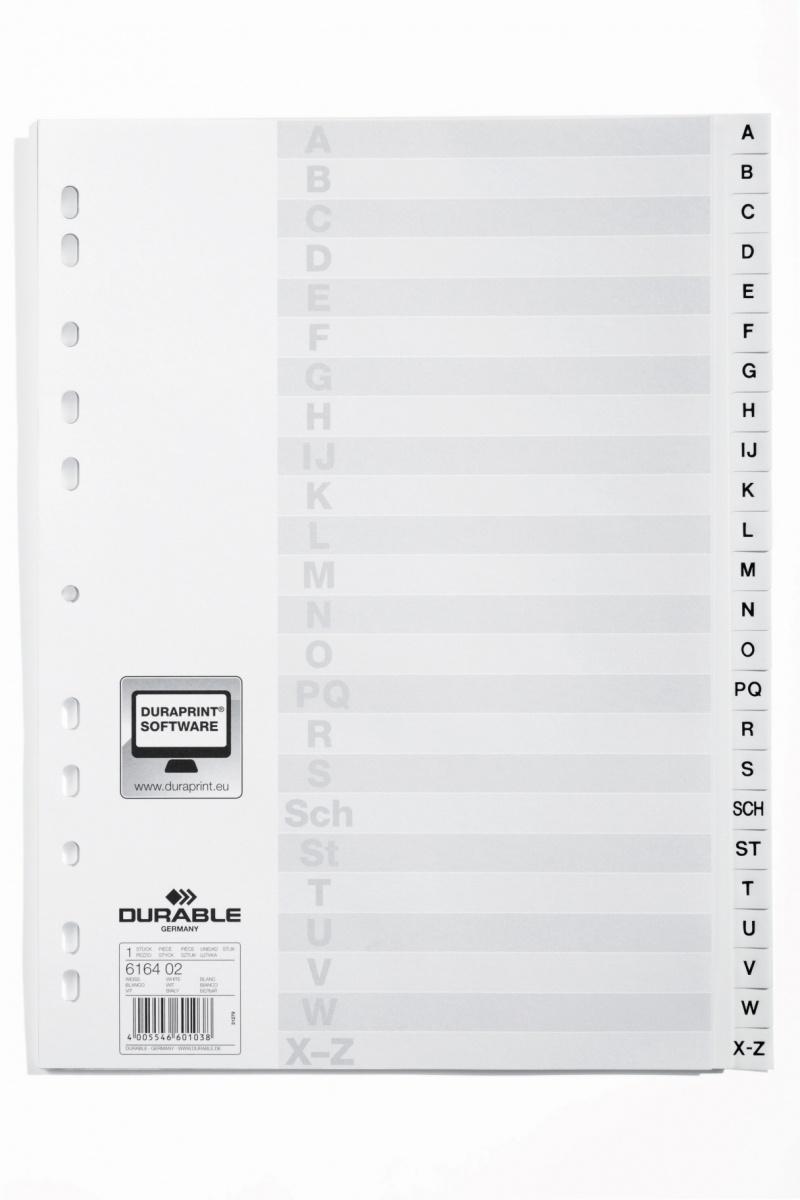 Przekładki PP A4 białe, nadrukowane indeksy, A-Z, przednia strona, Przekładki polipropylenowe, Archiwizacja dokumentów