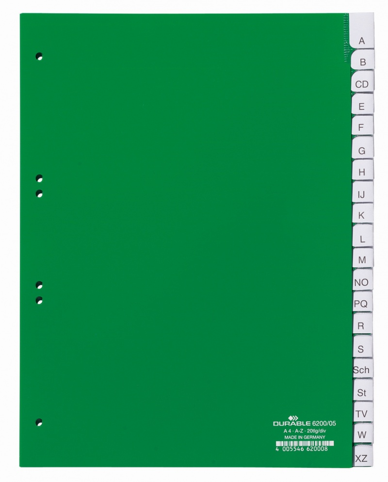 Przekładki A4 zielone, zgrzane wymienne indeksy, A-Z, Przekładki polipropylenowe, Archiwizacja dokumentów