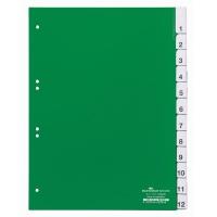 Przekładki A4 zielone, zgrzane wymienne indeksy, 1-12, Przekładki polipropylenowe, Archiwizacja dokumentów