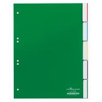 Przekładki A4 zielone, zgrzane wymienne indeksy, 5 części, Przekładki polipropylenowe, Archiwizacja dokumentów
