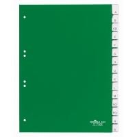 Przekładki A4 zielone, zgrzane wymienne indeksy, A-Z 15 części, Przekładki polipropylenowe, Archiwizacja dokumentów
