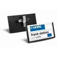FRAME, identyfikator z kombi-klipem 40 x 75 mm, Identyfikatory, Prezentacja