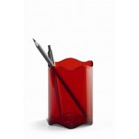 TREND pojemnik na długopisy, czerwony-przezroczysty, Przyborniki na biurko, Drobne akcesoria biurowe