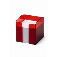 TREND pojemnik z karteczkami, czerwony-przezroczysty, Take a break, Wyposażenie biura
