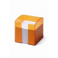 TREND pojemnik z karteczkami, pomarańczowy-przezroczysty, Take a break, Wyposażenie biura