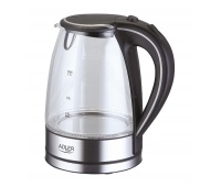 Electric kettle with water level indicator, ADLER AD 1225, 1.7 l, transparent/black